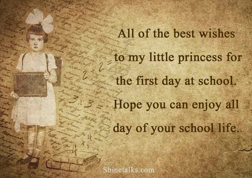 1st Day of School Wishes for girl